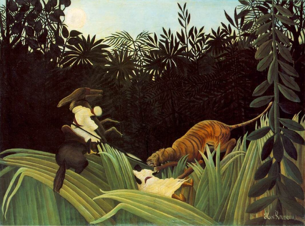 Scout Attacked by a Tiger, 1904 by Henri Rousseau