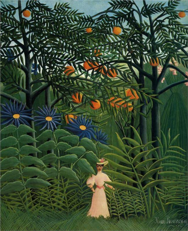 Woman Walking in an Exotic Forest, 1905 by Henri Rousseau